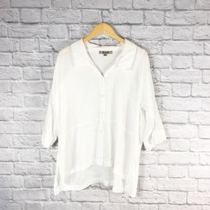 Flax White Linen Button Up Tunic Top